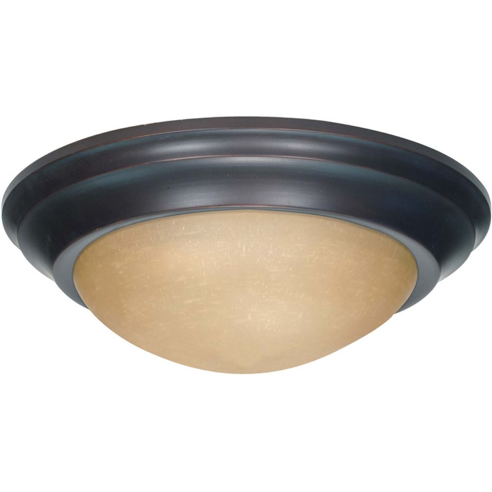 Glomar 3 Light 17 Inch Flush Mount  Twist & Lock with Champagne Linen Washed Glass Finished in Mahogany Bronze