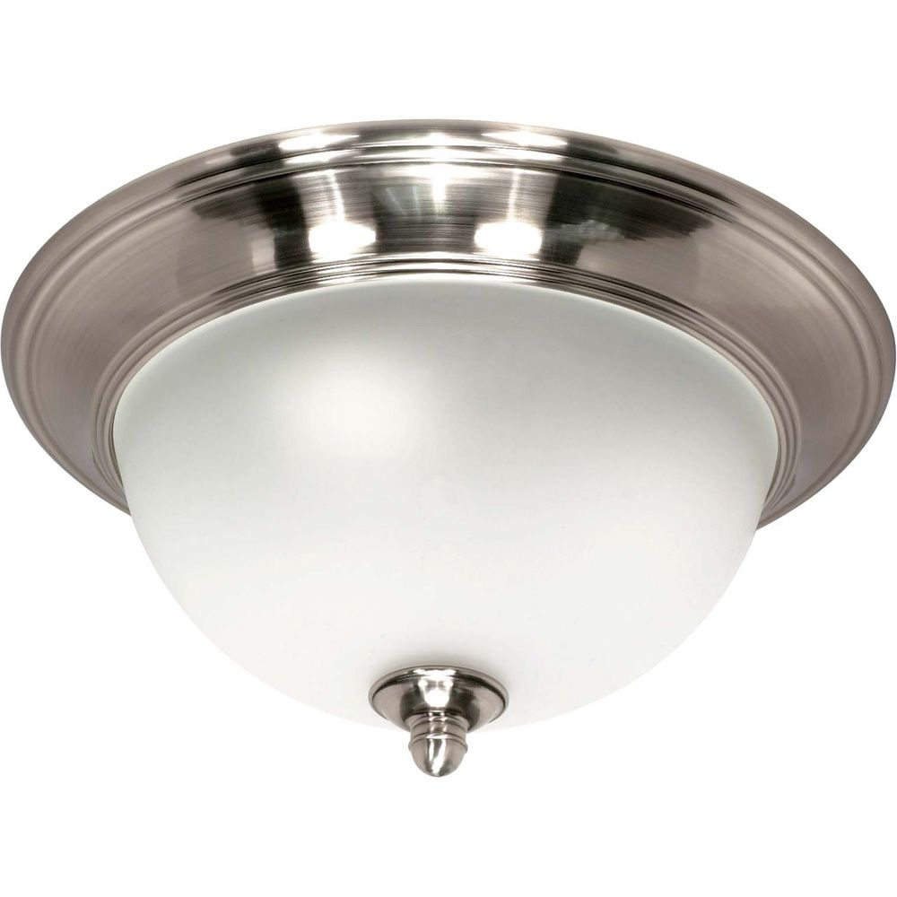Palladium  2 Light  14 Inch Flush Mount with Satin Frosted Glass Shades Finished in Smoked Nickel