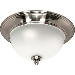 Glomar Palladium  3 Light  16 Inch Flush Mount with Satin Frosted Glass Shades Finished in Smoked Nickel