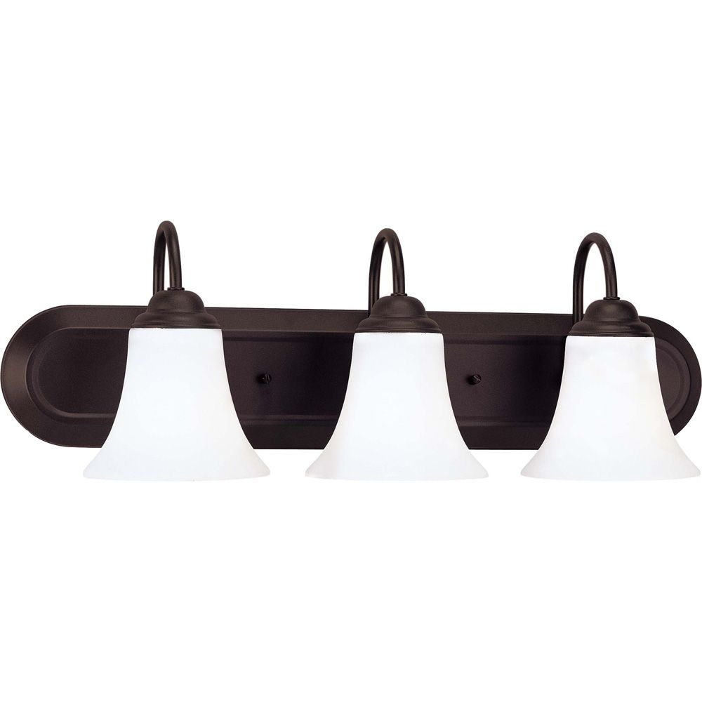 Dupont  3-Light Vanity with Satin White Glass Finished in Dark Chocolate Bronze