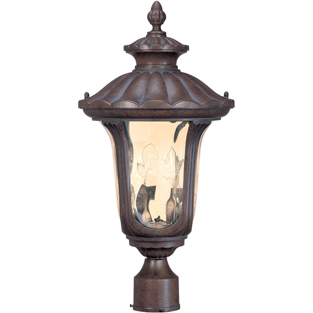 Beaumont  2-Light Mid-Size Post Lantern with Amber Water Glass Finished in Frui2od