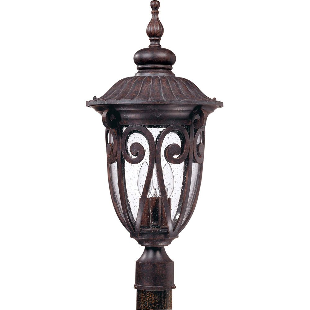 Corniche  3 -Light Large Post Lantern with Seeded Glass Finished in Burlwood