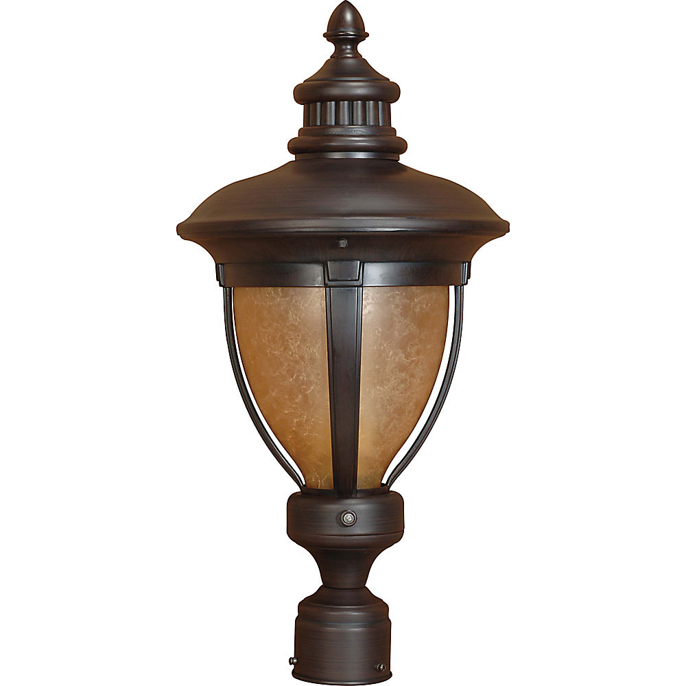 Galeon Old Penny Bronze 1 Light Post Lanternwith Tobago Glass  (Bulb Included)