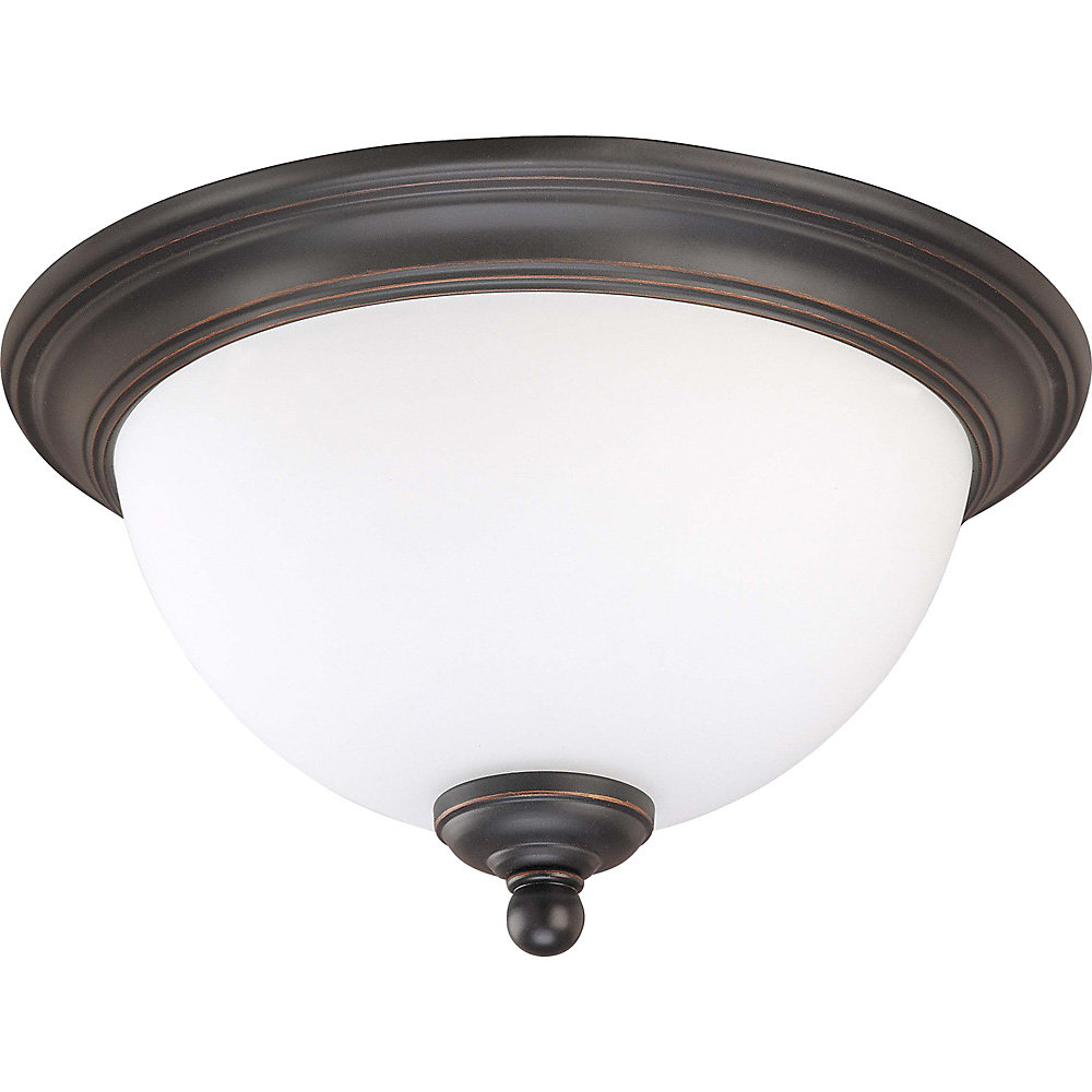 Glenwood Sudbury Bronze 1 Light 11 Inch Flush Domewith Satin White Glass  (Bulb Included)