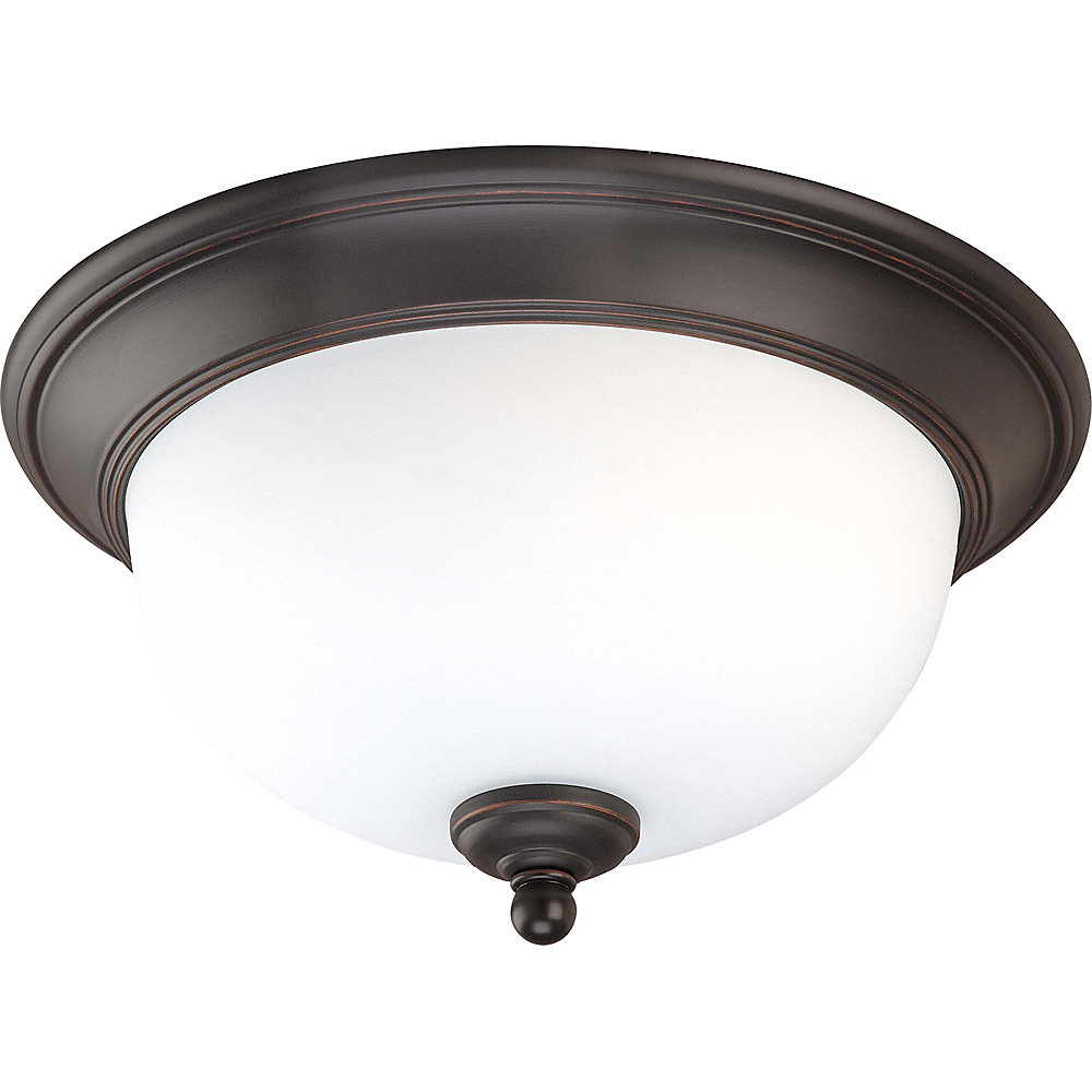 Glenwood Sudbury Bronze 2-Light 13 Inch Flush Dome with Satin White Glass  (Bulb Included)