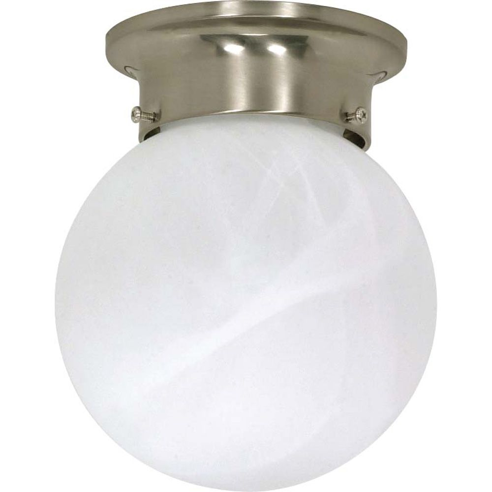 1-Light Flush-Mount Brushed Nickel Ceiling Fluorescent Light Fixture