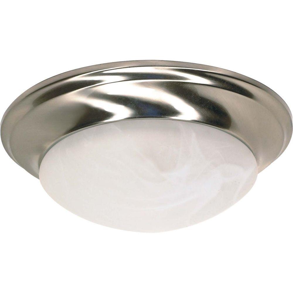 1-Light Flush-Mount Brushed Nickel Fluorescent Light Fixture