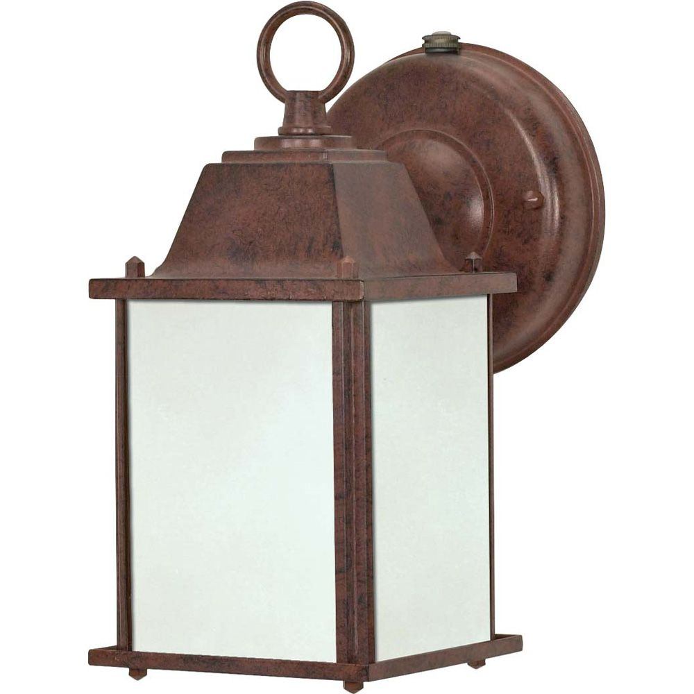 Lumière Glomar fixée au mur à une ampoule avec abat-jour givré, Fini bronze