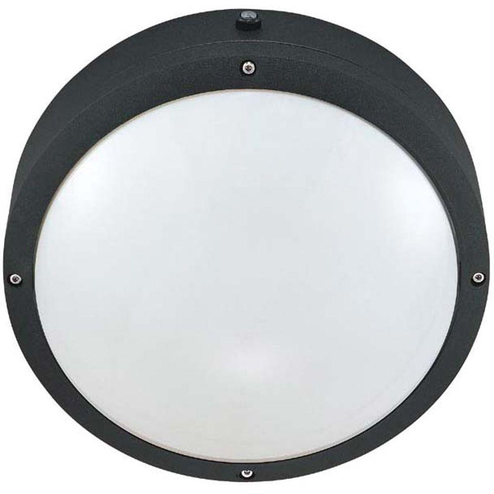 Lumière fixée au mur à deux ampoules avec abat-jour blanc, Fini noir