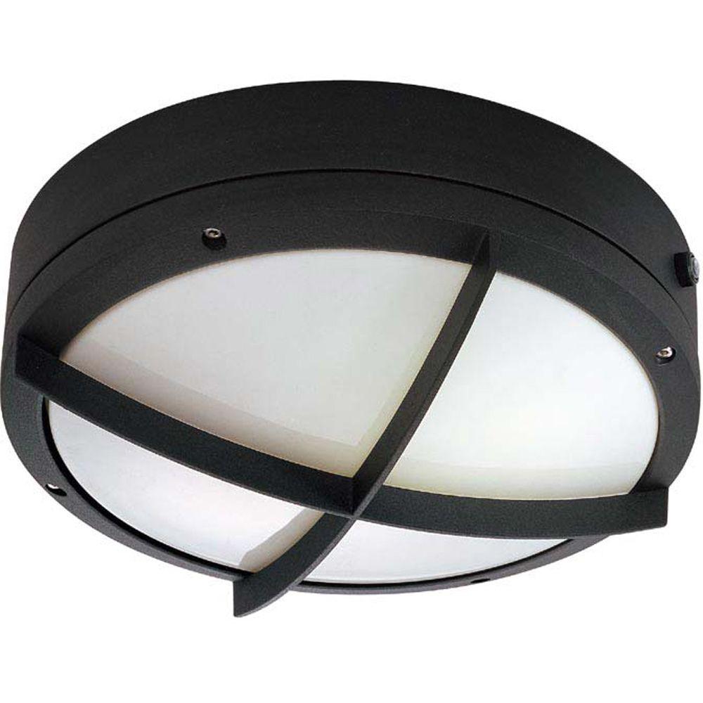 Lumière Glomar fixée au mur à deux ampoules avec abat-jour blanc, Fini noir