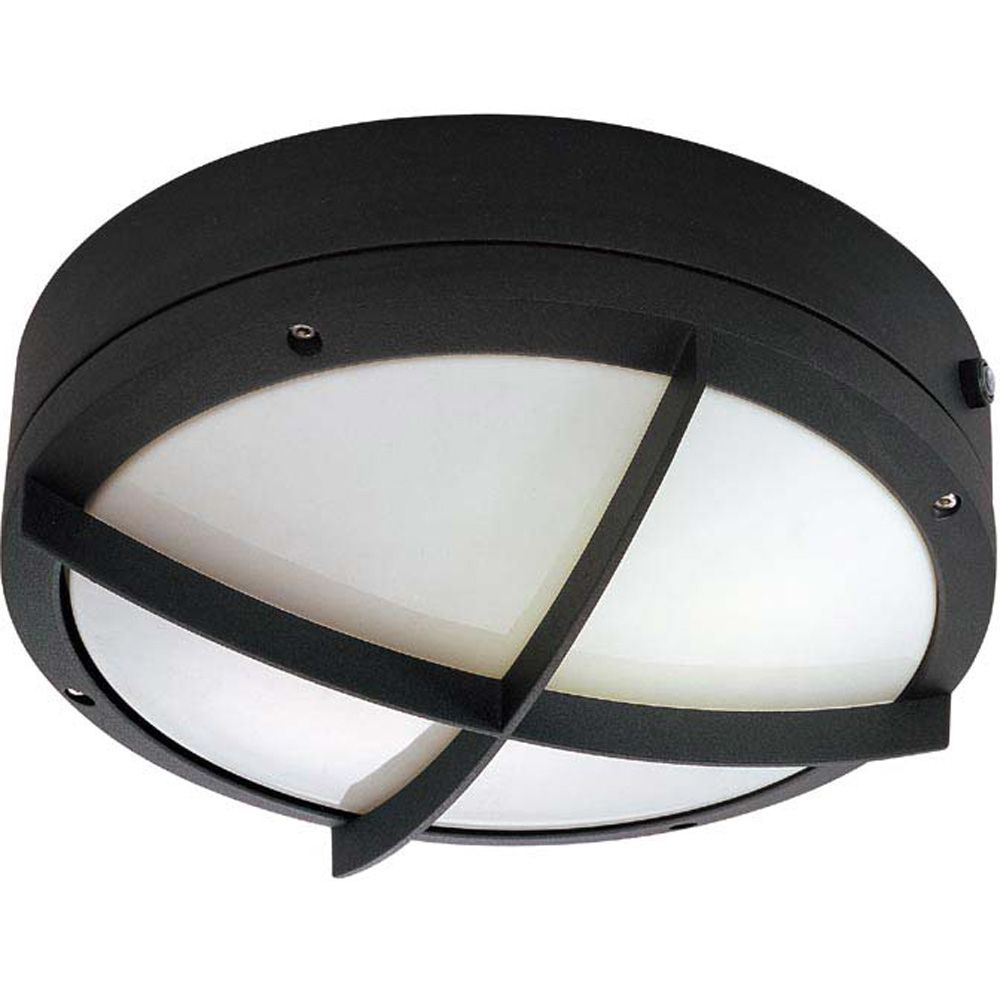 Hudson Matte Black 2-Light 13 watt 10 Inch Round Wall / Ceiling Fixture with Cross Grill
