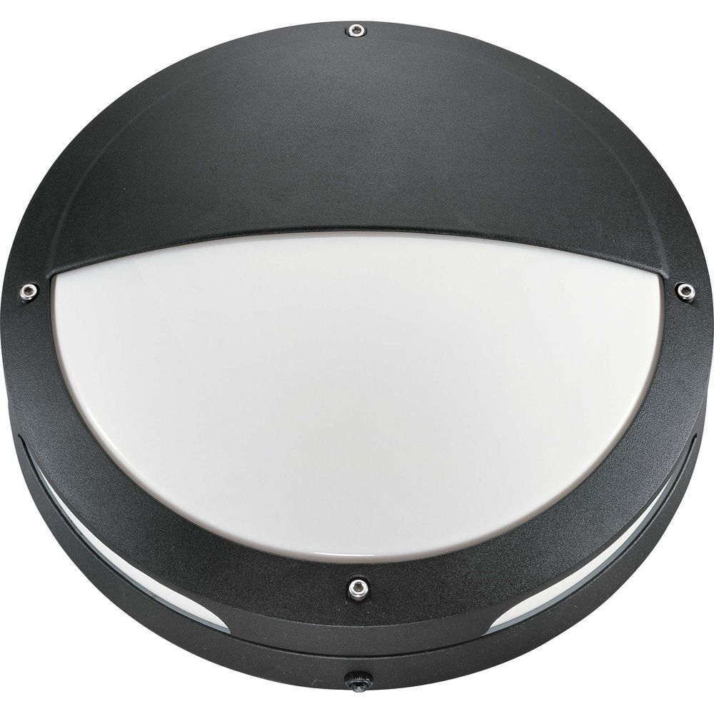 Hudson Matte Black 2-Light 18 watt13 Inch Round Hooded Wall / Ceiling Fixture