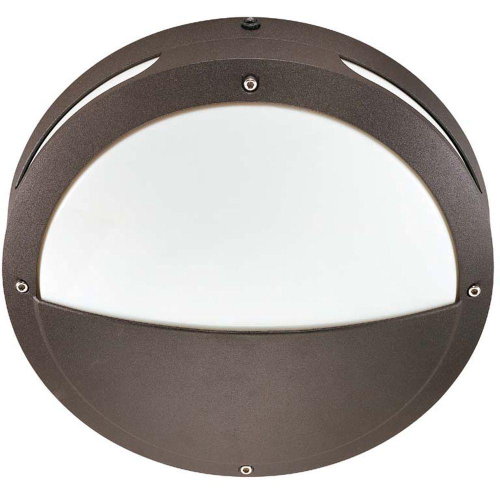 Hudson Architectural Bronze 2-Light 18 watt 13 Inch Round Hooded Wall / Ceiling Fixture