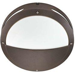 Glomar Hudson Architectural Bronze 2-Light 18 watt 13 Inch Round Hooded Wall / Ceiling Fixture