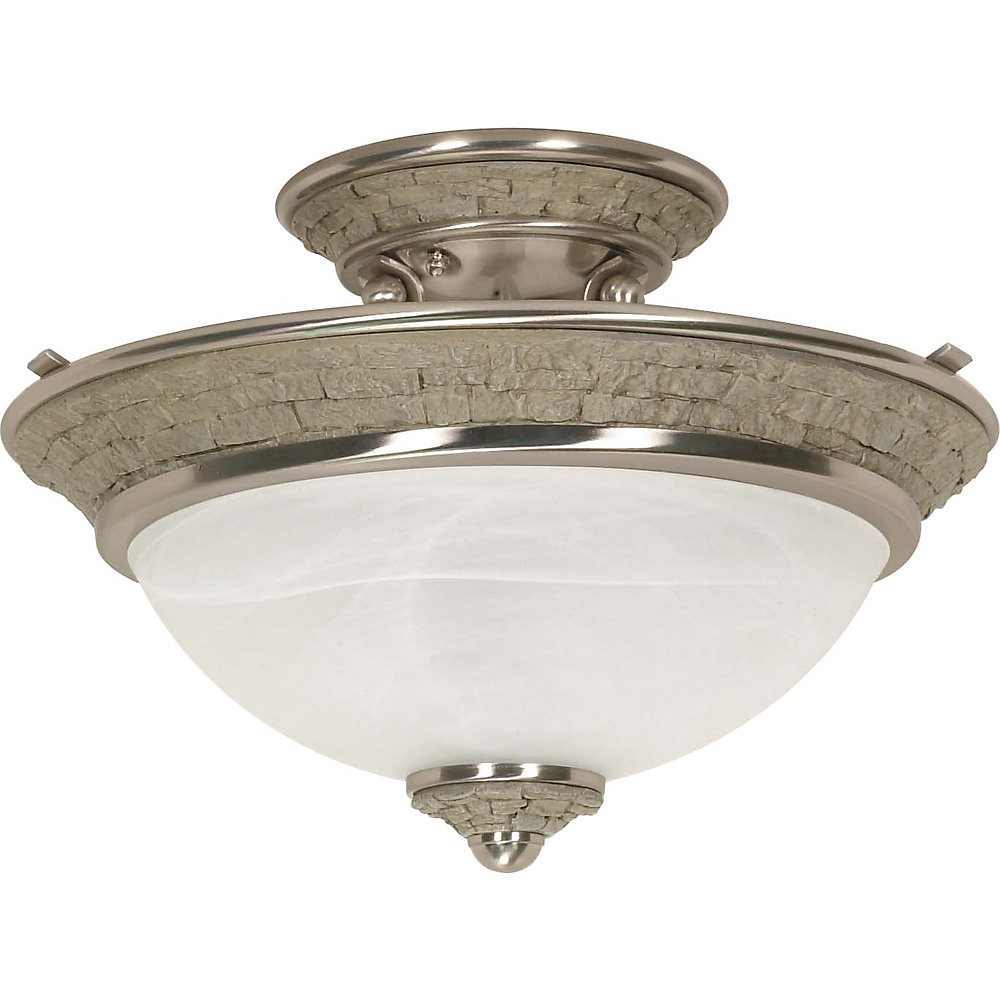 Rockport Milano Brushed Nickel 2-Light Semi Flush wiht Alabaster Swirl Glass  (Bulb Included)