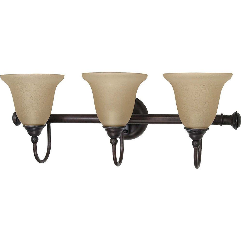 Mericana Old Bronze 3 Light Vanity with Amber Water Glass  (CFL Bulbs Included)