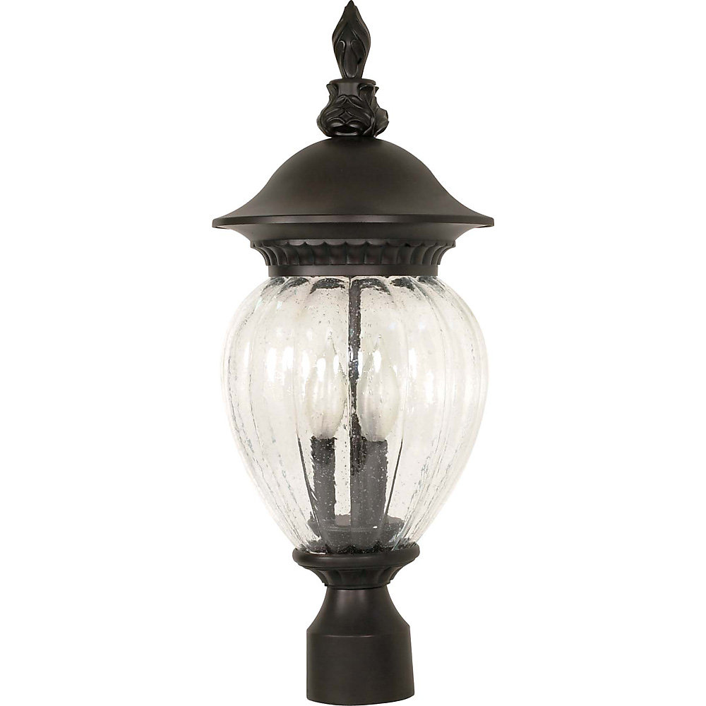 Balun 3-Light 22 Inch Post Lantern with Clear Melon Seed Glass Finished in Chestnut Bronze
