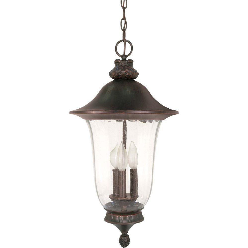 Parisian 3 -Light 24 Inch Hanging Lantern with Fluted Seed Glass Finished in Old Penny Bronze