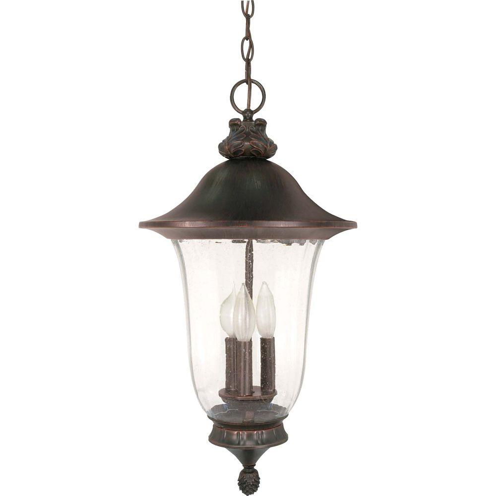 Lustre à trois ampoules avec abat-jour clair, Fini bronze