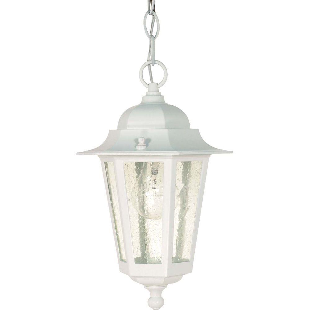 Lanterne blanche suspendue Piper, verre granuleux transparent, 33,02cm (13po)