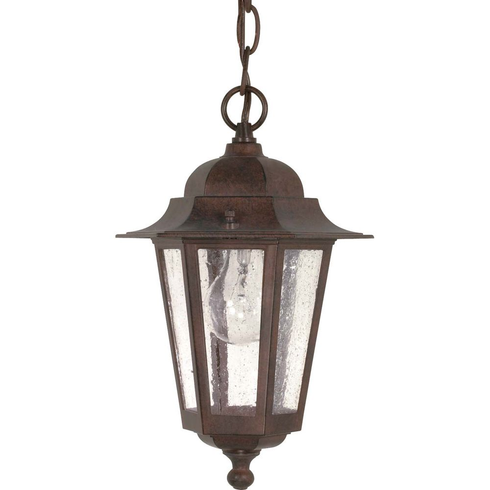 Glomar Cornerstone 1 -Light 13 Inch Hanging Lantern with Clear Seed Glass Finished in Old Bronze