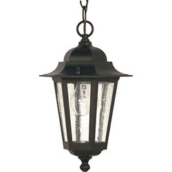 Glomar Cornerstone 1 Light 13 Inch Hanging Lantern with Clear Seed Glass Finished in Textured Black