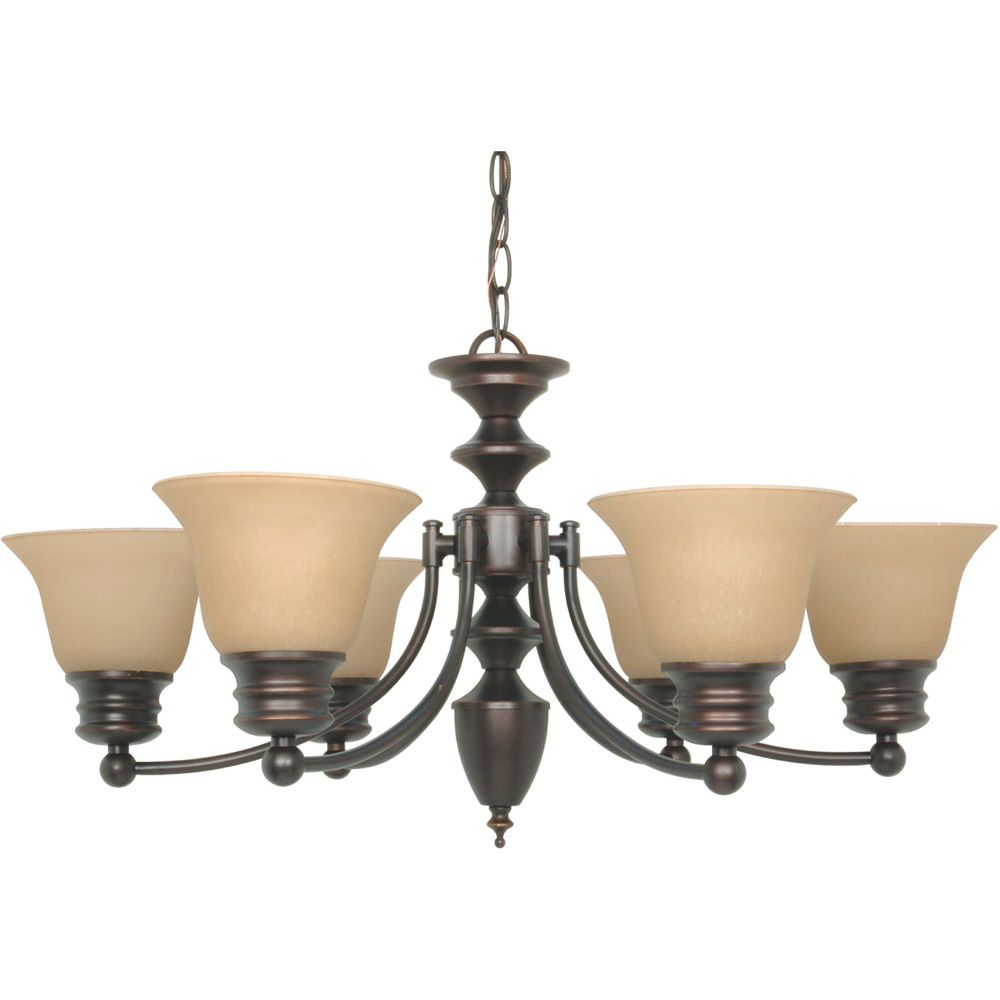 Empire 6-Light 26 Inch Chandelier with Champagne Linen Washed Glass Finished in Mahogany Bronze