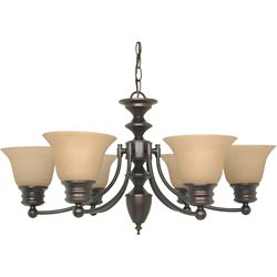 Glomar Empire 6-Light 26 Inch Chandelier with Champagne Linen Washed Glass Finished in Mahogany Bronze