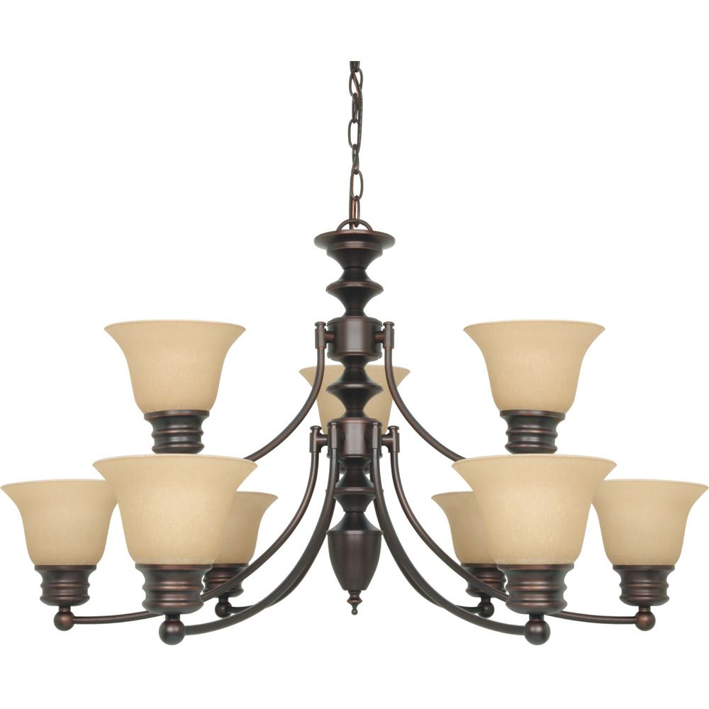 Glomar Empire 9-Light 32 Inch Chandelier with Champagne Linen Washed Glass Finished in Mahogany Bronze