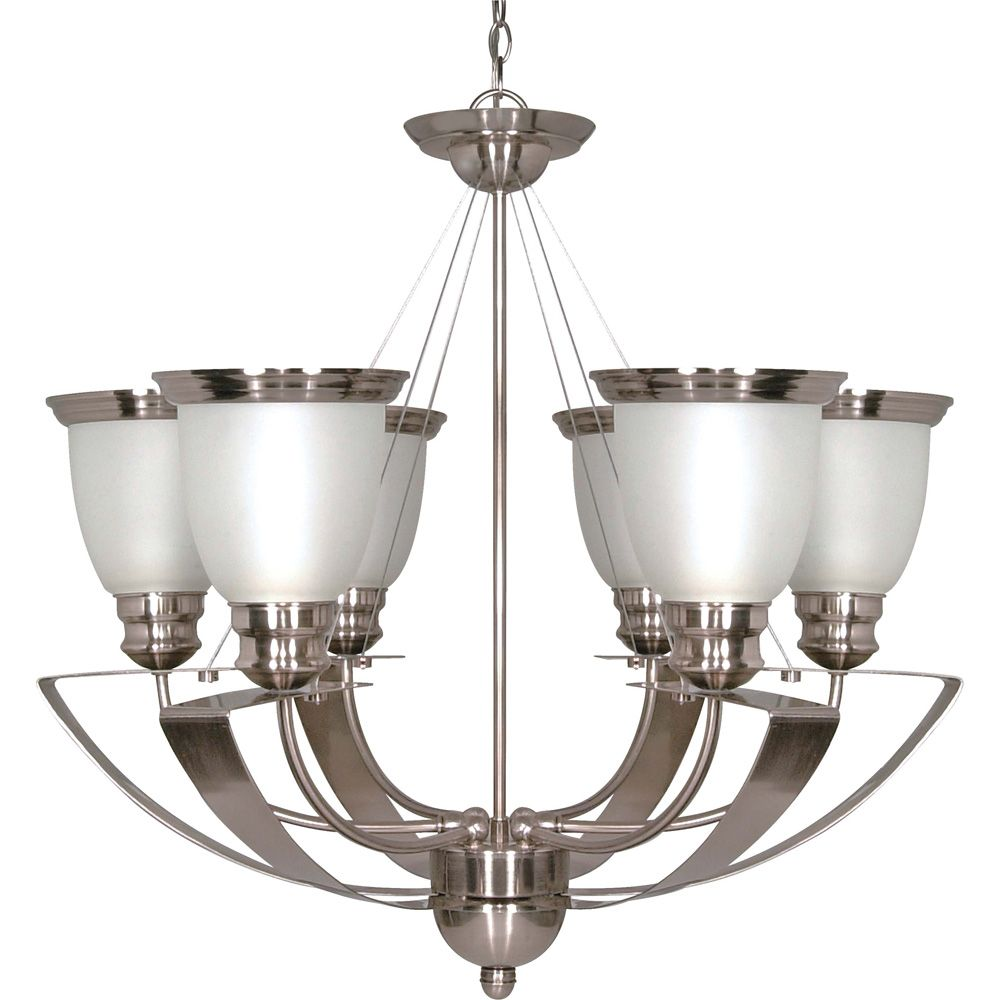 Palladium 6 Light 25 Inch Chandelier with Satin Frosted Glass Shades Finished in Brushed Nickel
