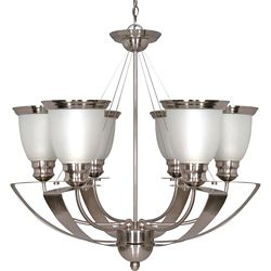 Glomar Palladium 6 Light 25 Inch Chandelier with Satin Frosted Glass Shades Finished in Brushed Nickel
