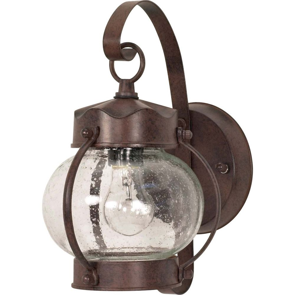 1-Light 11 Inch Wall Lantern Onion Lantern with Clear Seed Glass finished in Old Bronze