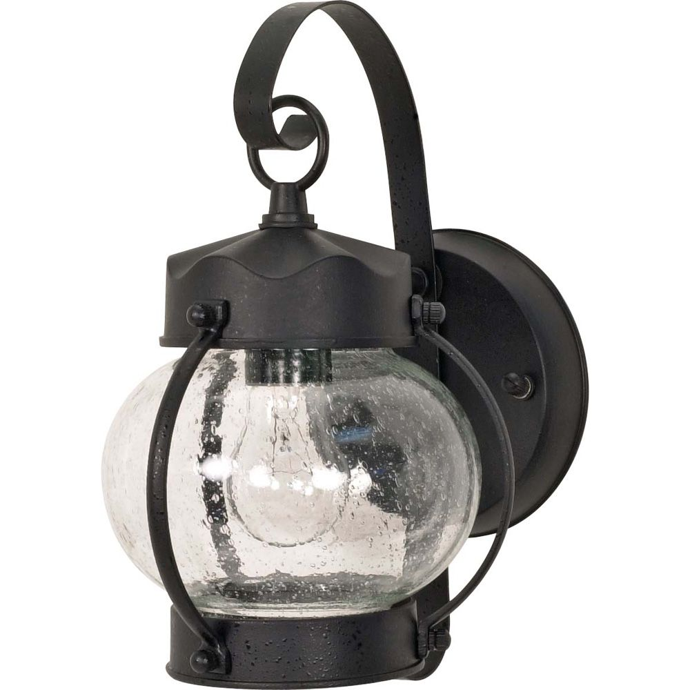 Glomar 1-Light  11 Inch  Wall Lantern  Onion Lantern with Clear Seed Glass finished in Textured Black