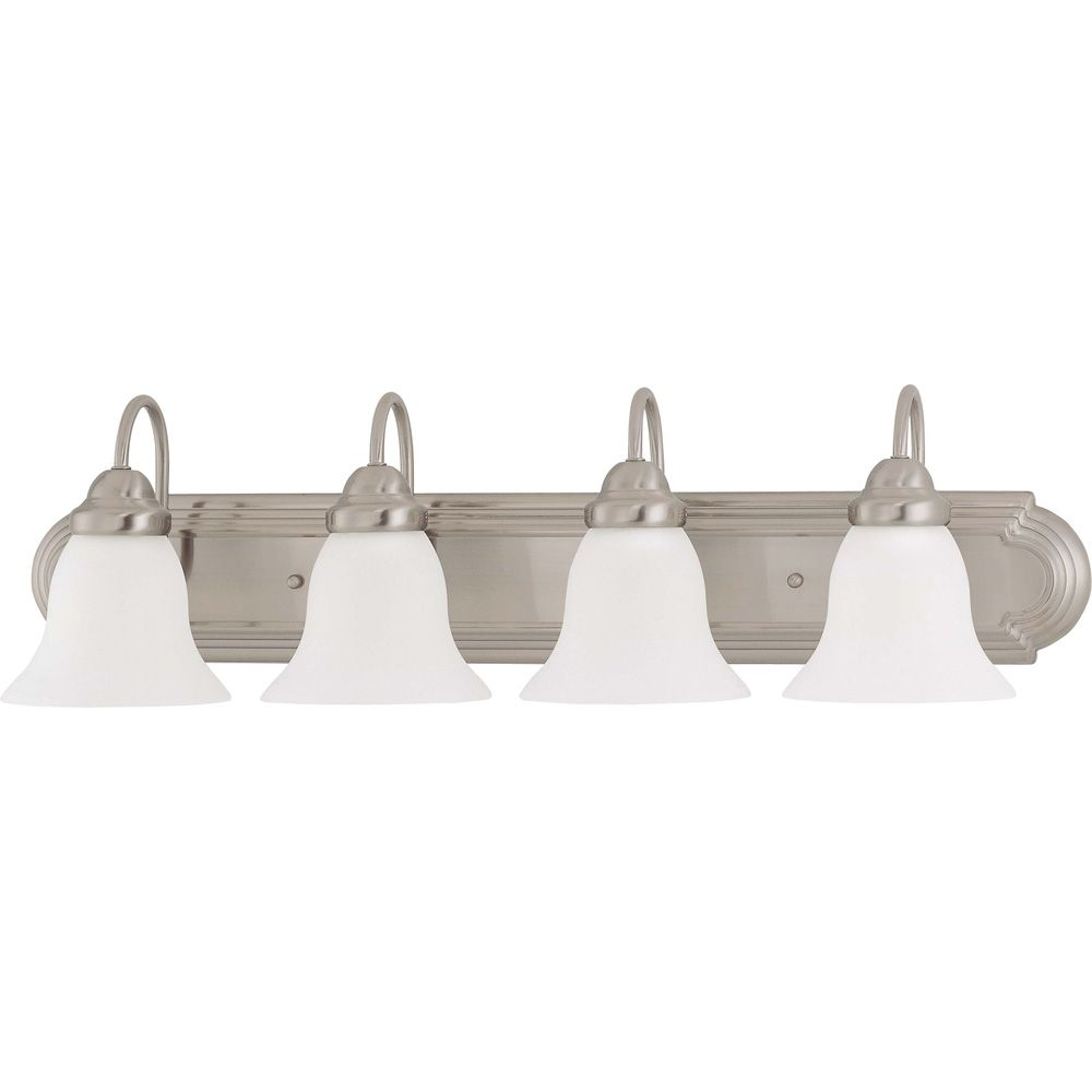 Ballerina  4-Light  30 Inch Vanity with Frosted White Glass Finished in Brushed Nickel