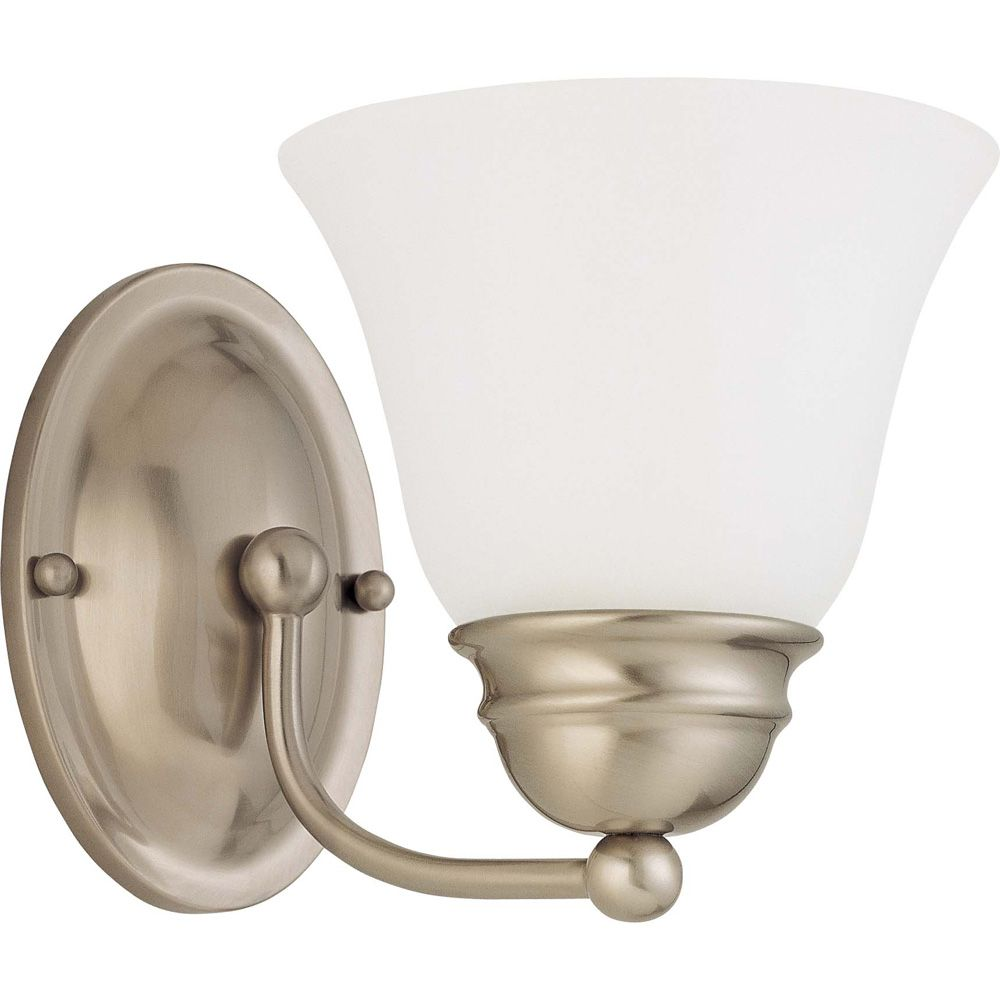 Empire Brushed Nickel 1-Light 7 Inch Vanity with Frosted White Glass 13 watt CFL Bulb Included