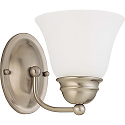 Glomar Empire Brushed Nickel 1-Light 7 Inch Vanity with Frosted White Glass 13 watt CFL Bulb Included
