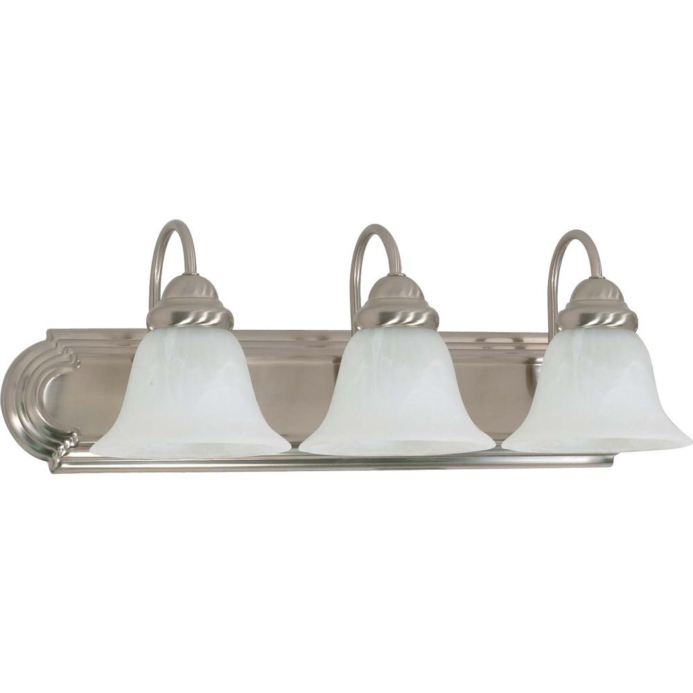 Glomar Ballerina Brushed nickel 4-Light 30 Inch Vanity with Alabaster Glass 13 watt CFL bulbs included