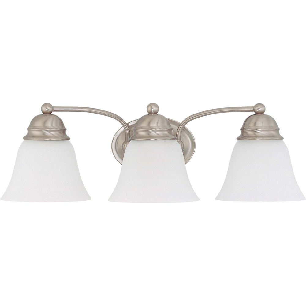 Empire Brushed Nickel 3 Light  21 Inch  Vanity with Frosted White Glass  13W CFL Bulbs Included