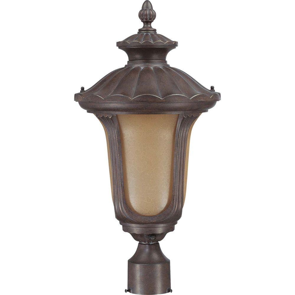 Pilier monture lumière Glomar à une ampoule avec abat-jour de spécialité, finition de spécialité