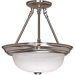 Glomar 3 Light Brushed Nickel Fluorescent 15 Inch Semi flushwith Alabaster Glass (3) 13W CFL Bulbs Included