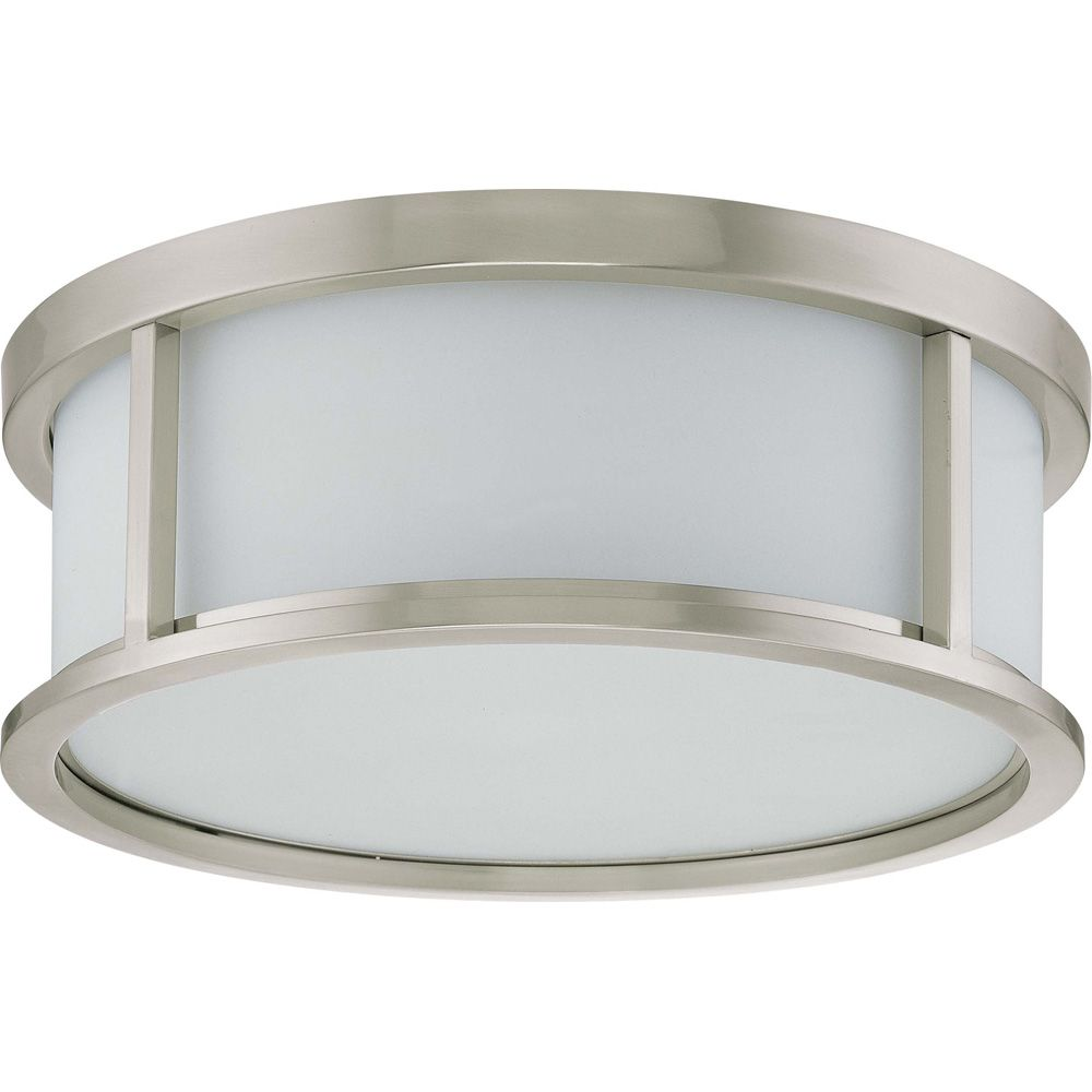 Odeon  3 Light 17 Inch Flush Dome with Satin White Glass Finished in Brushed Nickel