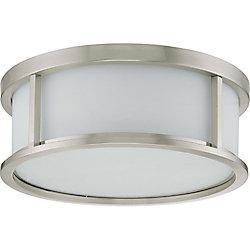 Glomar Plafonnier à trois ampoules avec abat-jour blanc, finition de spécialité