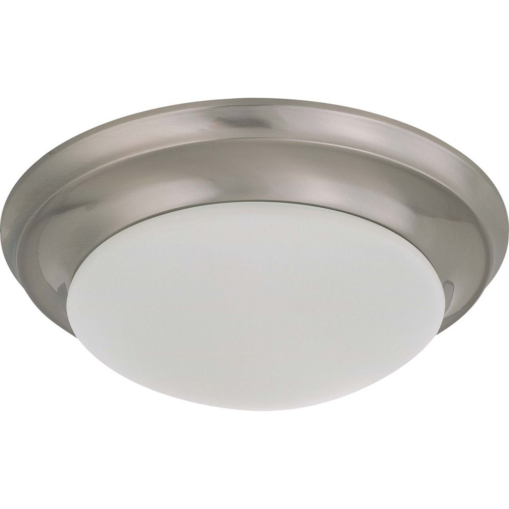 Glomar Brushed Nickel 1 Light 12 Inch Flush Mount Twist & Lock with Frosted White Glass 18W  CFL Bulb Included