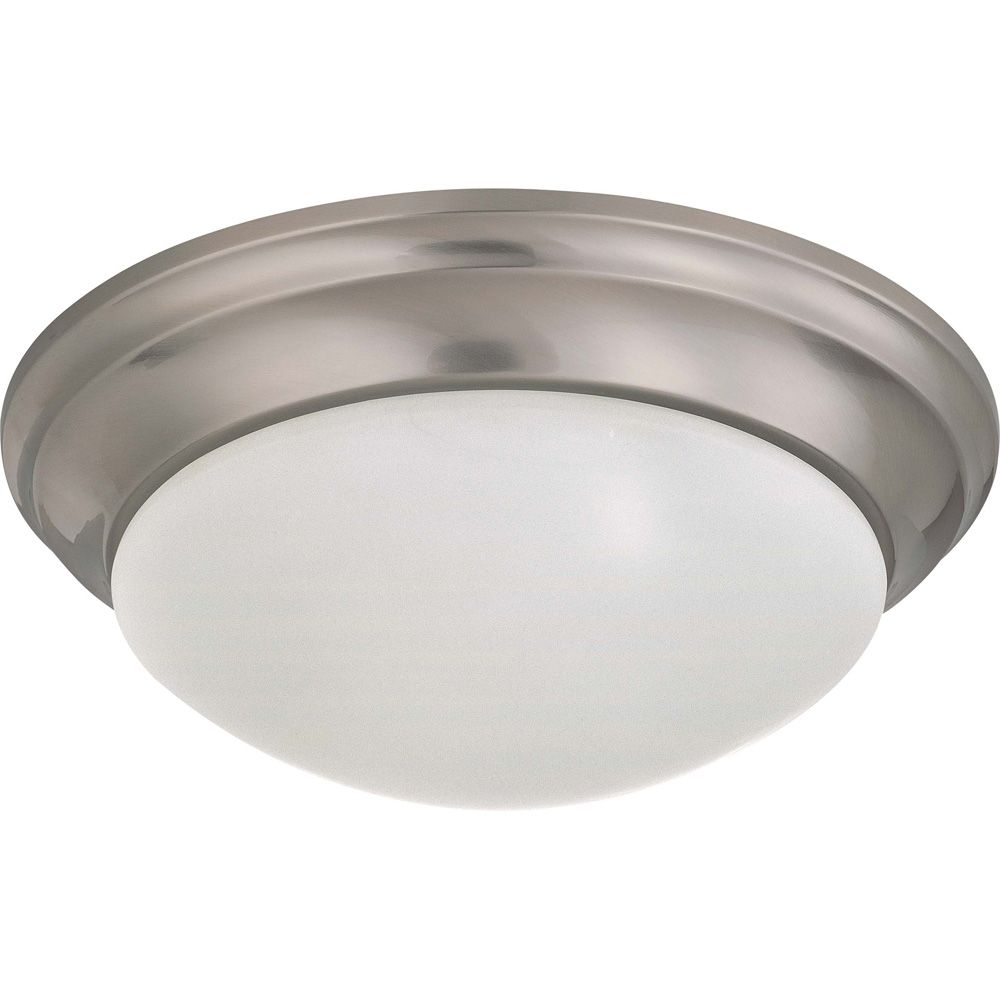 Glomar Brushed Nickel 2 Light 14 Inch Flush Mount Twist & Lockwith Frosted White Glass 13W CFL Bulbs Included