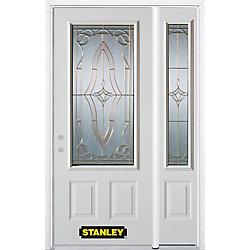 Stanley Doors Porte dentrée en acier préfini en blanc, munie de deux panneaux et dun 3/4 verre, 51 po x 82 po avec panneaux latéraux et moulure de brique - ENERGY STAR®