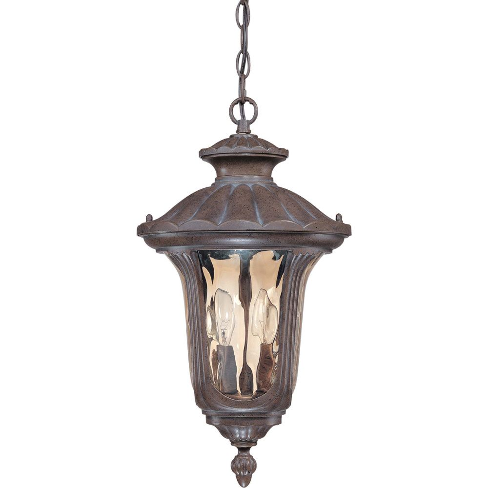 Beaumont  2 Light Hanging Lantern with Amber Water Glass Finished in Fruitwood