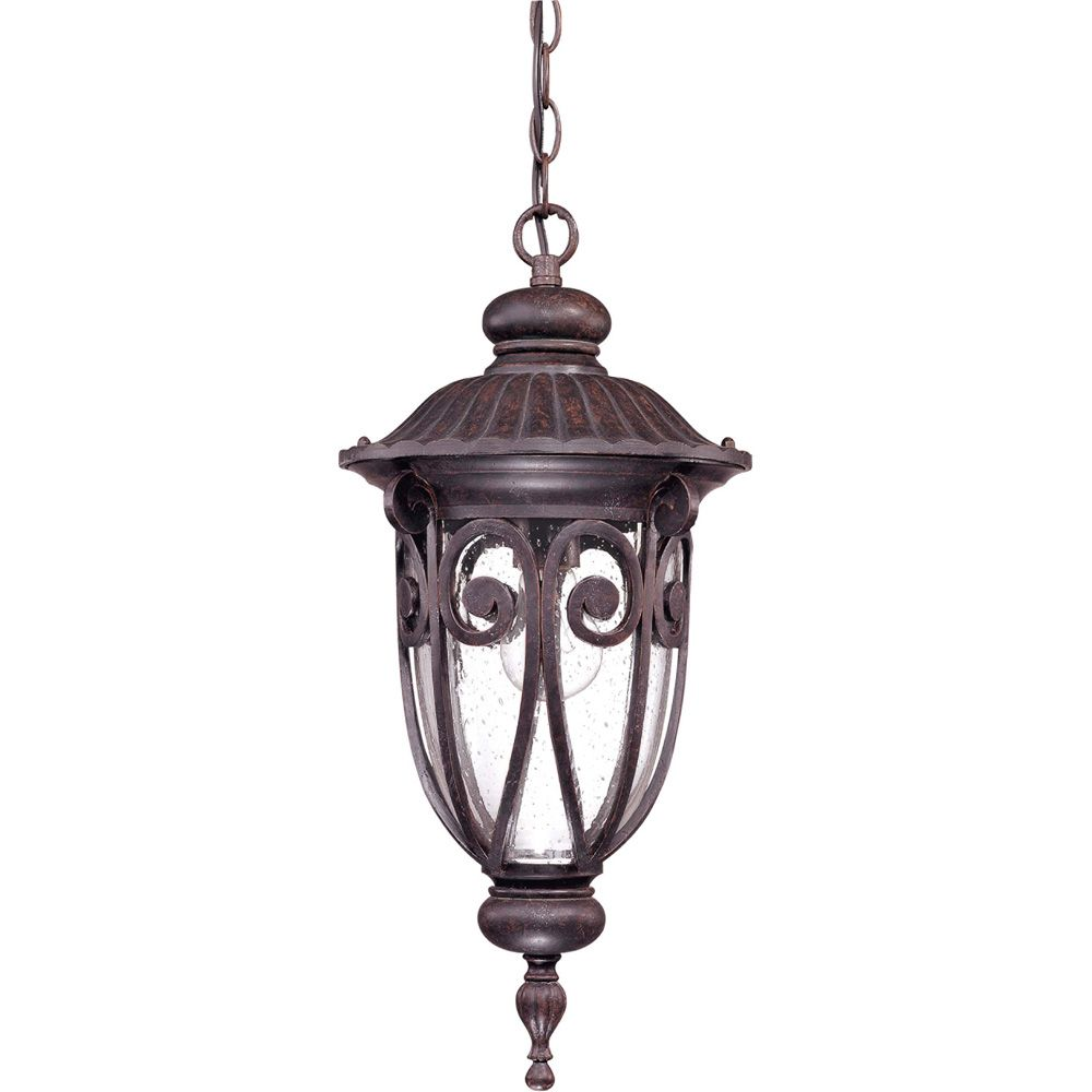 Corniche  1 -Light Hanging Lantern with Seeded Glass Finished in Burlwood