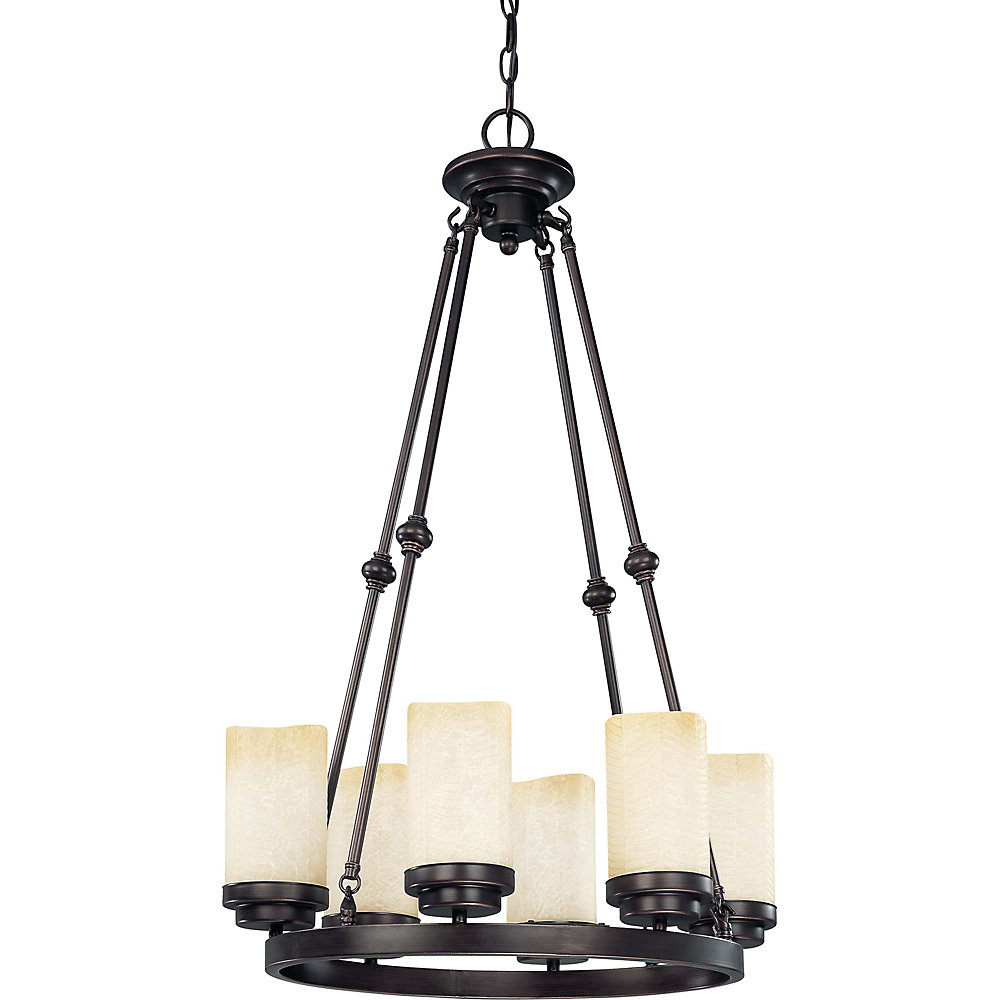 Lucern  6-Light 22 Inch Round Chandelierwith Saddle Stone Glass Finished in Patina Bronze