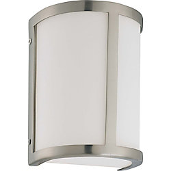 Glomar Odeon  1-Light Wall Sconcewith Satin White Glass Finished in Brushed Nickel