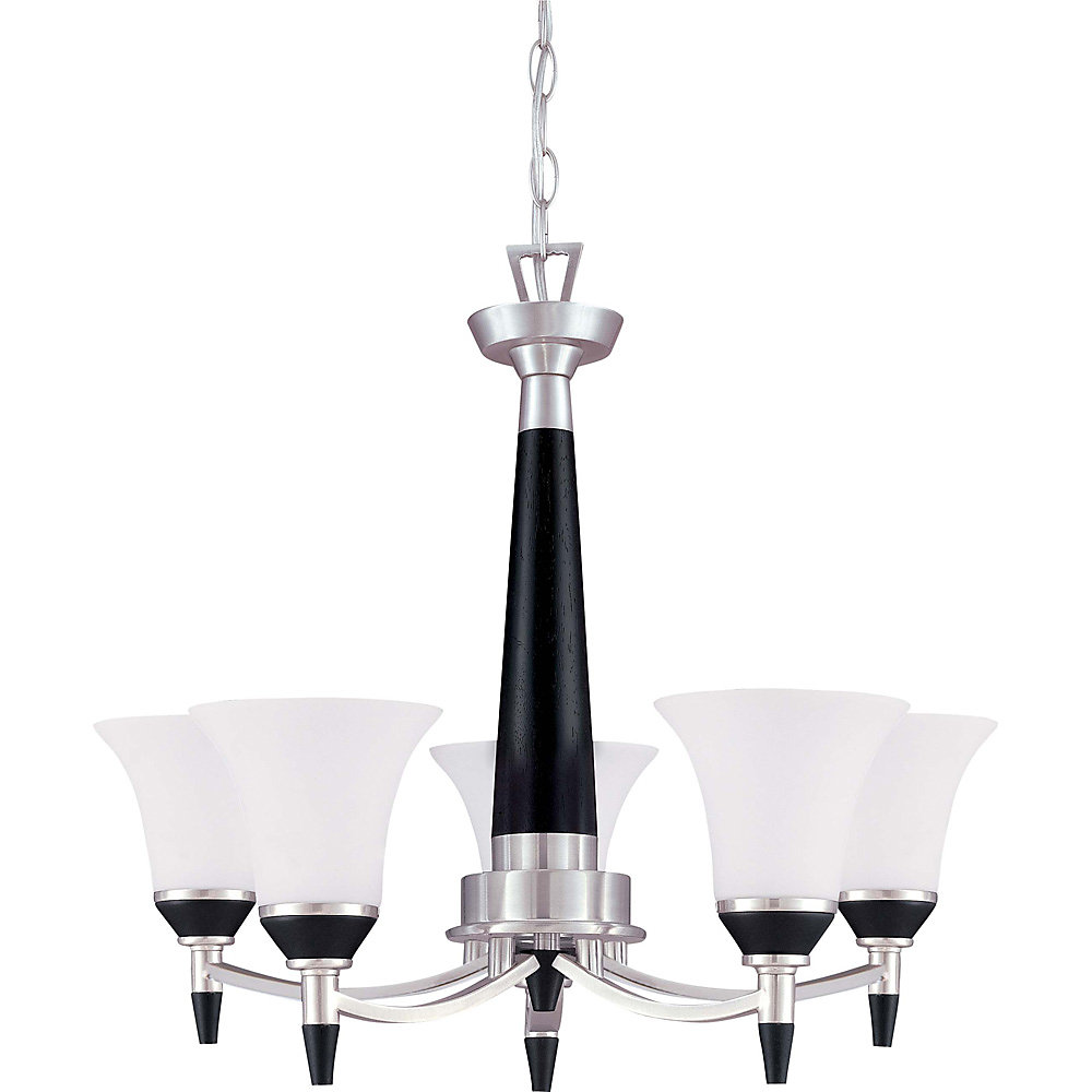 Keen  5-Light 26 Inch Chandelierwith Satin White Glass Finished in Ebony & Brushed Nickel